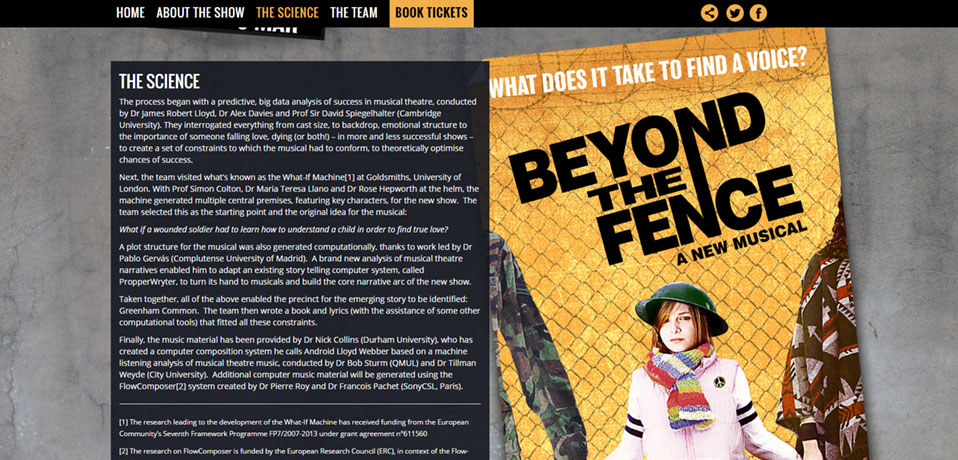 Beyond the Fence: a London musical for which the authors used the FlowComposer to compose several songs